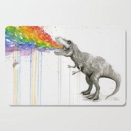 T-Rex Dinosaur Rainbow Puke Taste the Rainbow Watercolor Cutting Board