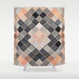 pink black grey geometric striped pattern Shower Curtain