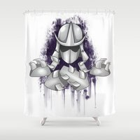 ninja turtle Shower Curtains featuring Shredder -Teenage Mutant Ninja Turtle by Roe Mesquita