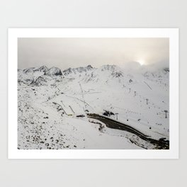 Sunset after the snowy mountains on the side of the road Art Print
