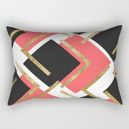 Chic Coral Pink Black and Gold Square Geometric Rectangular Pillow