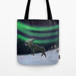 Northern Lights Moose Hunt Tote Bag