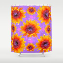 Lilac Tinged Golden Yellow Sunflowers Art Shower Curtain