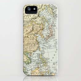 China, Russia, Japan Vintage Map iPhone Case