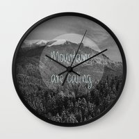 the mountains are calling Wall Clocks featuring the mountains are calling by monicamarcov