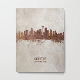 Seattle Washington Rust Skyline Metal Print
