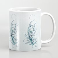 peacock feather Mugs featuring Peacock Feather by LouJah