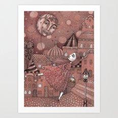 Strawberry Moon in June Art Print