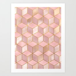 PINK CHAMPAGNE GRADIENT CUBE PATTERN (Gold Lined) Art Print