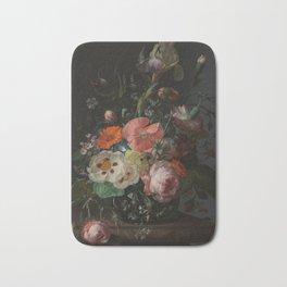 Rachel Ruysch - Still life with flowers on a marble tabletop (1716) Bath Mat