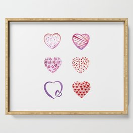 Watercolor Pink Hearts Serving Tray