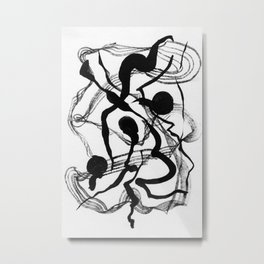 Abstract Black Strokes Metal Print
