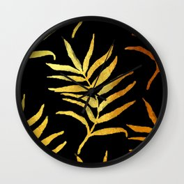 Black and gold leaf pattern V2 #society6 Wall Clock