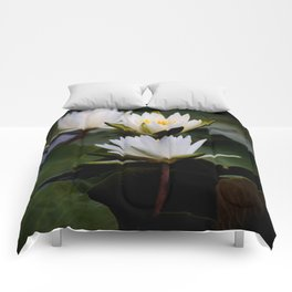 White Lily Flowers In A Pond With Green Lily Pads Comforters