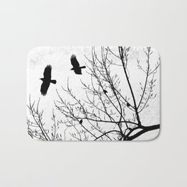 Crows Flying Birds in Tree Branches Black on White Bath Mat