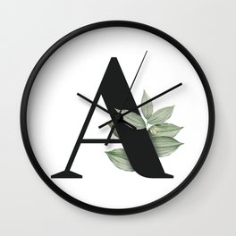 Letter A Initial Floral Monogram Black And White Poster Wall Clock