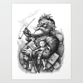 Vintage Illustration Of Santa Claus  Art Print