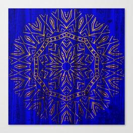 384 Royal Blue Gold Mandala Curtain Canvas Print