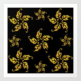 Golden 3-D Look Leaf Rosettes Art Print