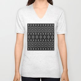 Aztec Essence Ptn III Grey on Black Unisex V-Neck