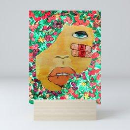 stuck in the rose bush Mini Art Print