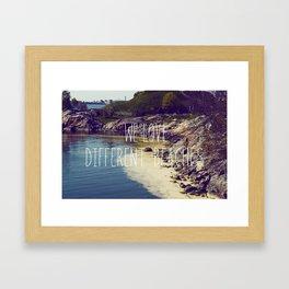 We love Different Beaches Framed Art Print