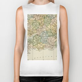 England and Wales Vintage Map Biker Tank