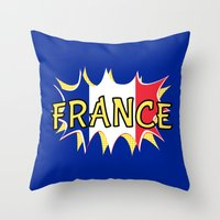france Throw Pillows featuring France by mailboxdisco