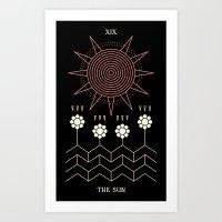 tarot Art Prints featuring Tarot: Sun by Merlin