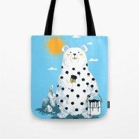 polka Tote Bags featuring polka bear by Steven Toang