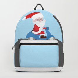 Santa Claus coming to you on his Scooter Backpack