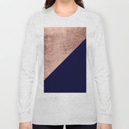 Minimalist rose gold navy blue color block geometric Long Sleeve T-shirt