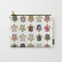 Whimsical turtles with girly floral retro pattern Carry-All Pouch