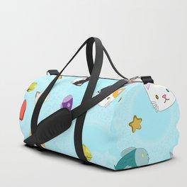 Cat Pattern Cyan Duffle Bag