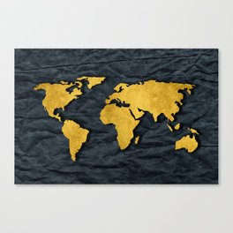 Metallic Gold Leaf Map on paper Canvas Print