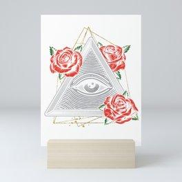 Illuminati Triangle Masonic Pyramid Floral Conspiracy Gift Mini Art Print