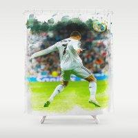 ronaldo Shower Curtains featuring Cristiano Ronaldo celebrates after scoring by Don Kuing