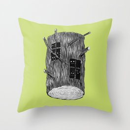 Mysterious Forest Creatures In Tree Log Throw Pillow