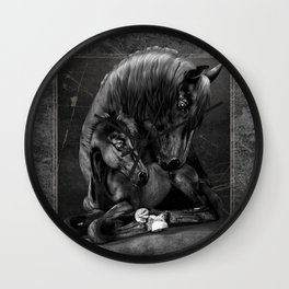 Black Popular Friesian Horse Wall Clock