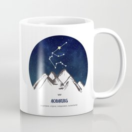 Astrology Aquarius Zodiac Horoscope Constellation Star Sign Watercolor Poster Wall Art Coffee Mug