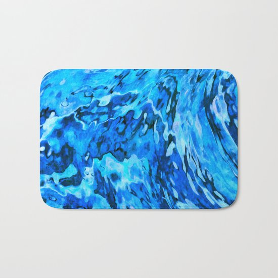 Blue wave abstract Bath Mat