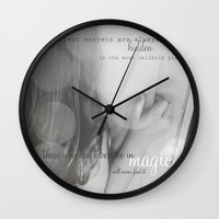 roald dahl Wall Clocks featuring believe in magic by Emily Hughes