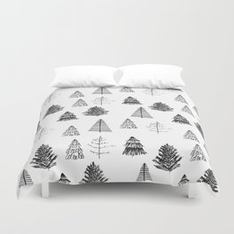 Trees Pattern Black and White Duvet Cover
