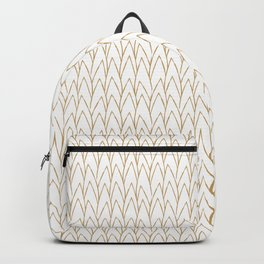 Simple Hand-painted Abstract Modern Tropical Leaves Pattern in Gold and White Backpack