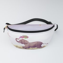 Elephant running after a kite Fanny Pack