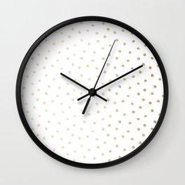 Delicate Gold Polka Dots Wall Clock
