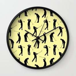 Golfers // Yellow Wall Clock