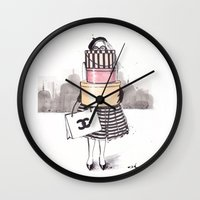 shopping Wall Clocks featuring Shopping Junkie by anna hammer