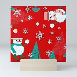 Snowman red Mini Art Print