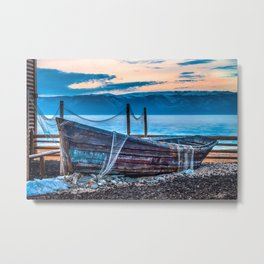 Old fishing boat with net Metal Print